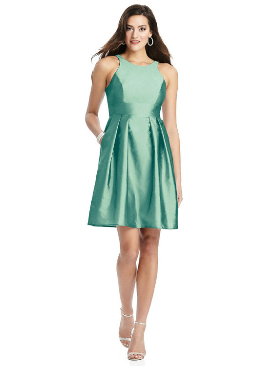 Halter Pleated Skirt Cocktail Dress with Pockets By Alfred Sung D785 in 33 colors in Fresh