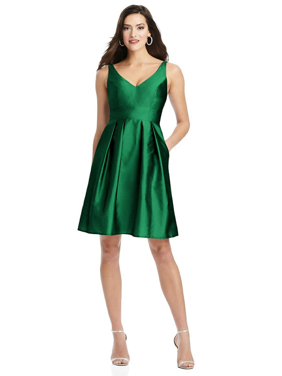 Sleeveless Pleated Skirt Cocktail Dress with Pockets By Alfred Sung D784 in 33 colors in Pine Green