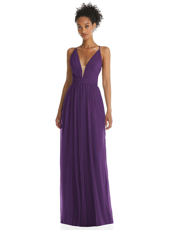 Illusion Deep V-Neck Tulle Maxi Dress with Adjustable Straps by Thread Bridesmaid style TH062 available in 8 colors in Majestic