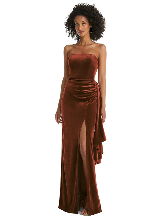 Strapless Velvet Maxi Dress with Draped Cascade Skirt by After Six style 6850 in 9 colors in auburn moon