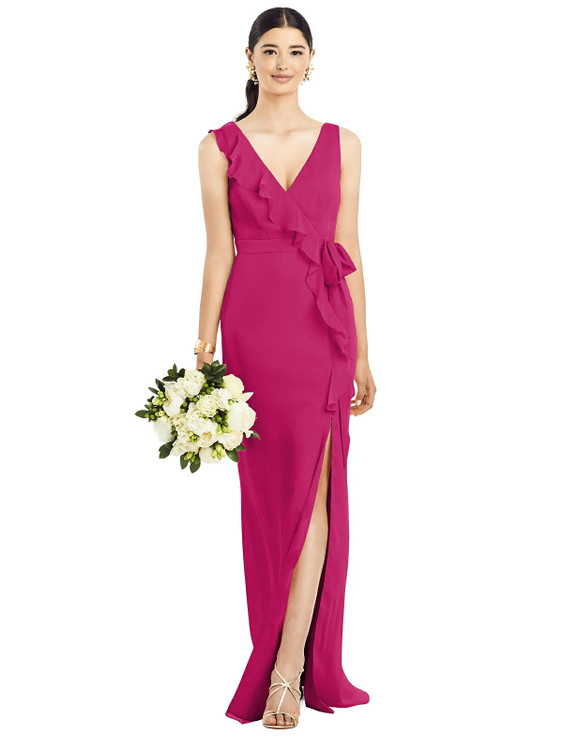 Sleeveless Ruffled Wrap Chiffon Gown by  After Six 1528 in 30 colors in tutti fruitti