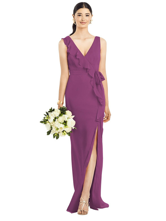 Sleeveless Ruffled Wrap Chiffon Gown by  After Six 1528 in 30 colors in radiant orchid
