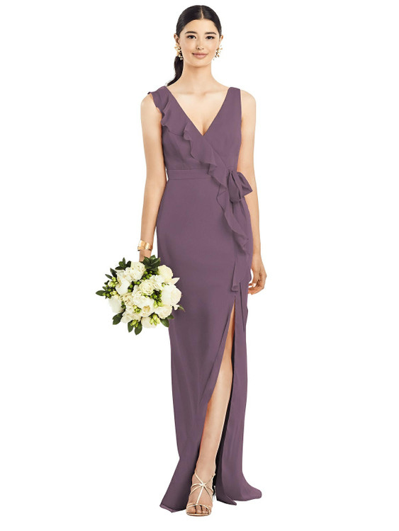 Sleeveless Ruffled Wrap Chiffon Gown by  After Six 1528 in 30 colors shown in Smashing