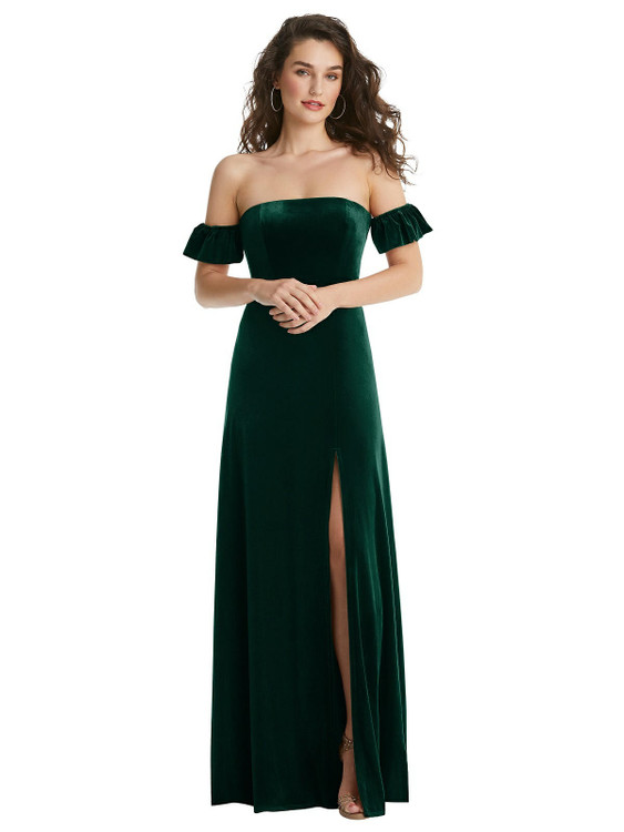 Ruffle Sleeve Off-the-Shoulder Velvet Maxi Dress By After Six 1553 in 9 colors in evergreen