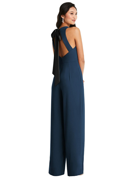 Cutout Open-Back Halter Jumpsuit with Scarf Tie by  Dessy 3085 in 32 colors