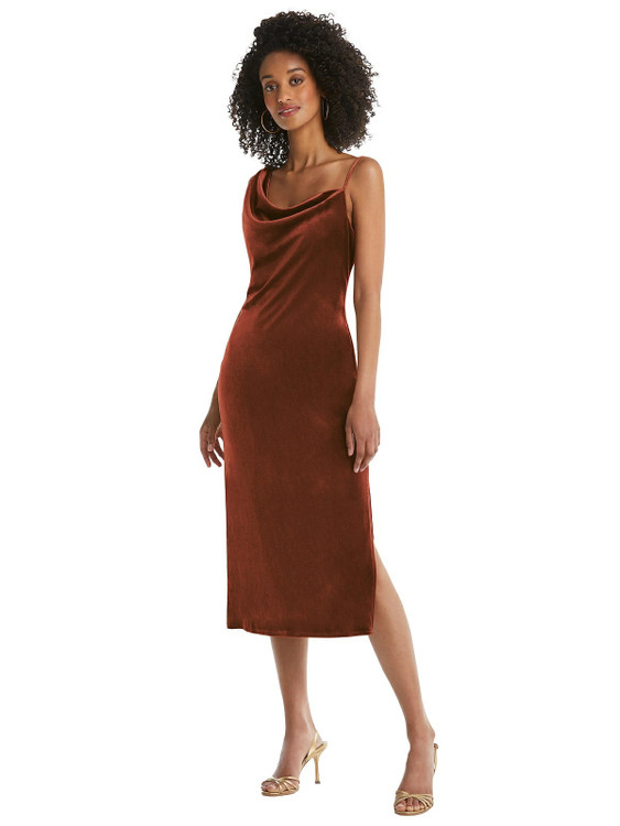 Asymmetrical One-Shoulder Velvet Midi Slip Dress By Social Bridesmaid 8212 in 9 colors in Auburn Moon