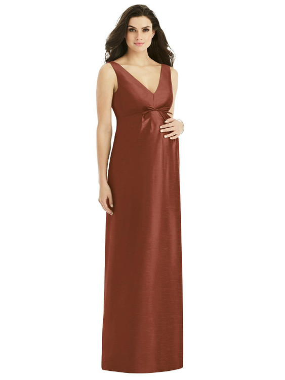 Sleeveless Satin Twill Maternity Dress By Alfred Sung M439in 36 colors