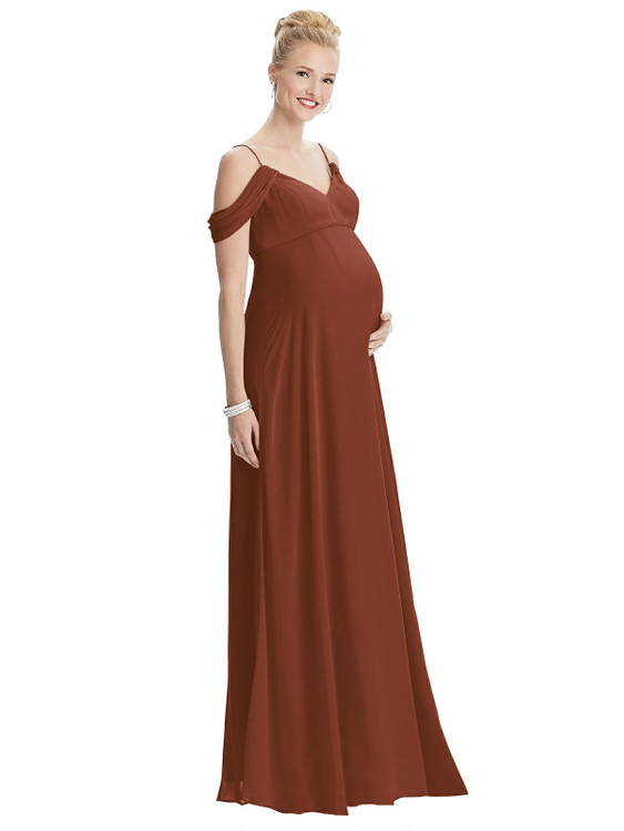 Draped Cold-Shoulder Chiffon Maternity Dress By Maternity Style M442 in 63 colors