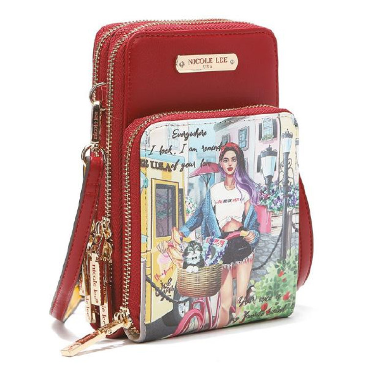 Nicole Lee Cozy Street in Milan Multi-functional Touch Screen Cell Phone Crossbody by Ameise