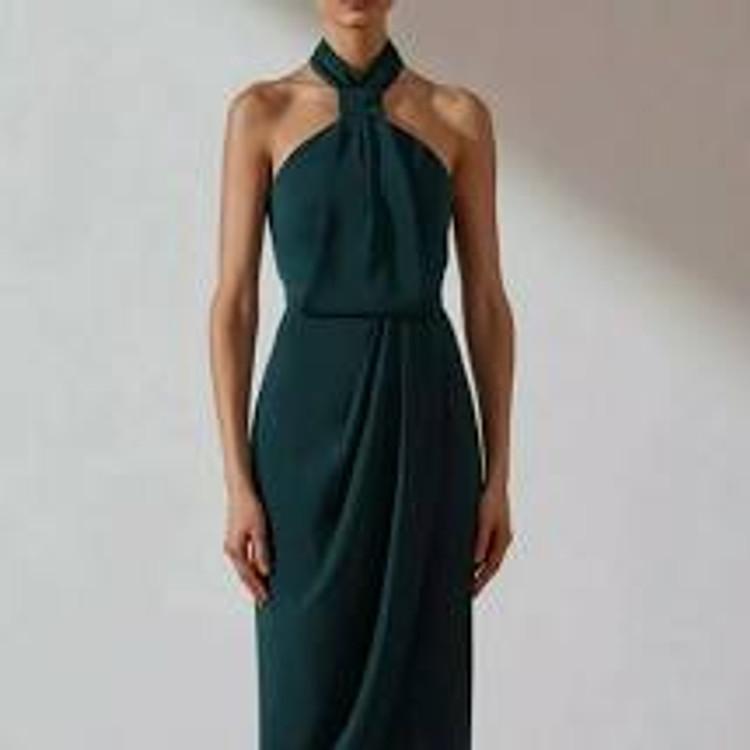 Shona Joy Core Knot Draped Dress - Seaweed Size 10