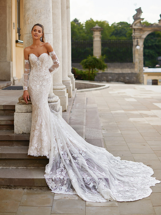 Sparkly Lace Mermaid Wedding Gown with Detachable Bishop Sleeves LeahH1490 by Moonlight Bridal  (Pre-Order now)
