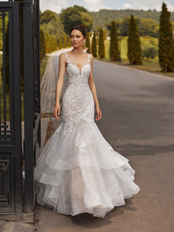 Drop Waist Mixed Lace Mermaid Gown with Layers of Cascades Catalina J6838 by Moonlight Bridal