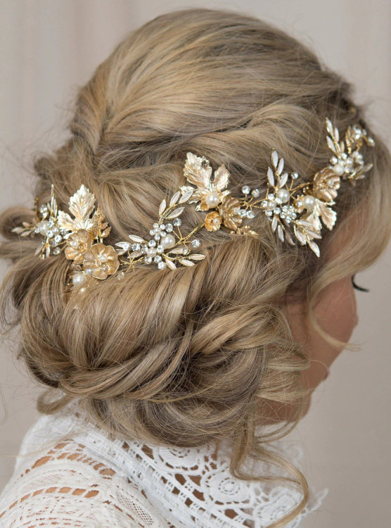 Bridal Hair Vine Gold Wedding Headpiece