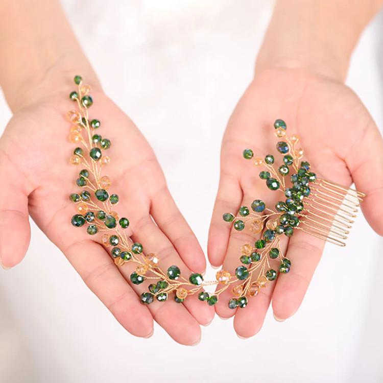 Bohemian Hair comb Green Wedding Headpiece (MITIARA8)