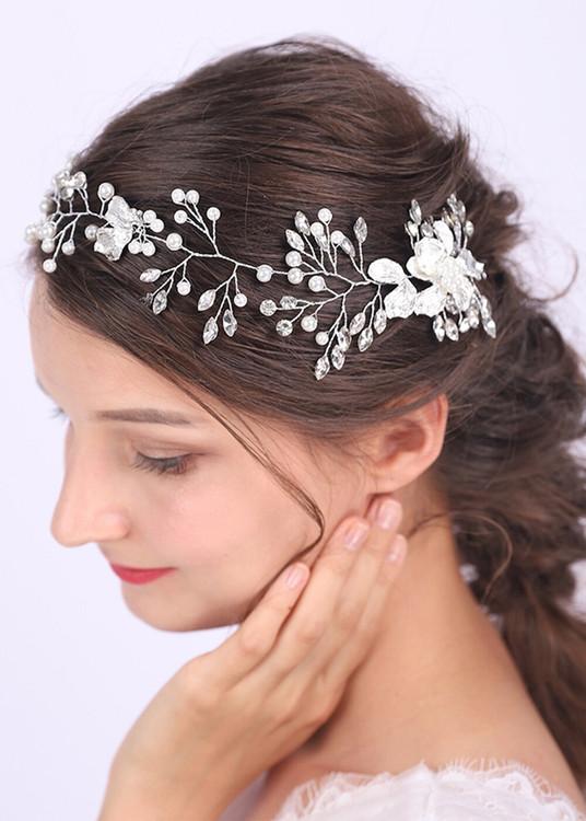 Silver Leaf Crystal Pearls Wedding Headband (MITIARA11)