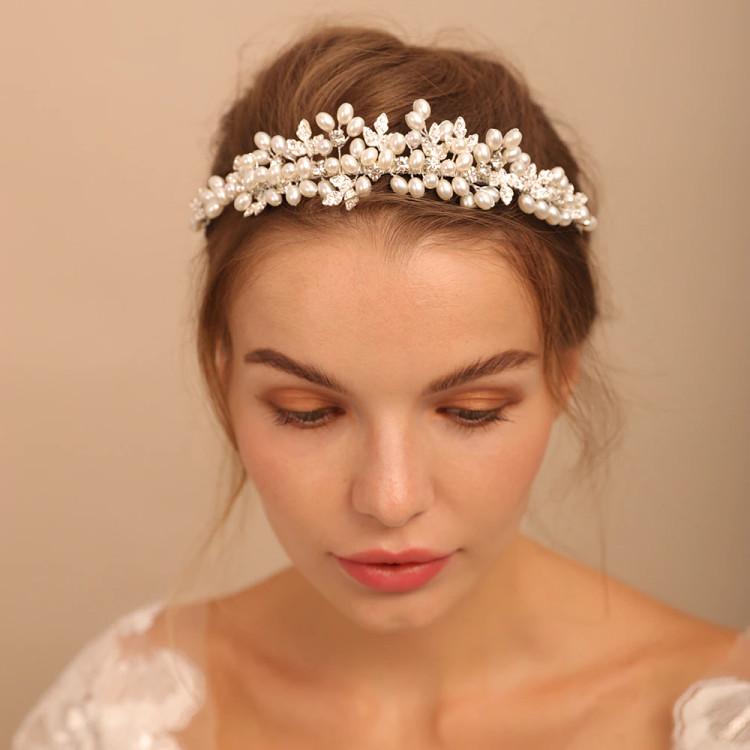 Bridal Crown Pearl Leaf Headband ( MITIARA23)
