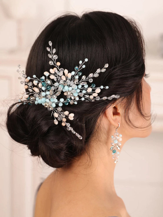 Blue Rhinestone Bride Hair Pin (MITIARA30)