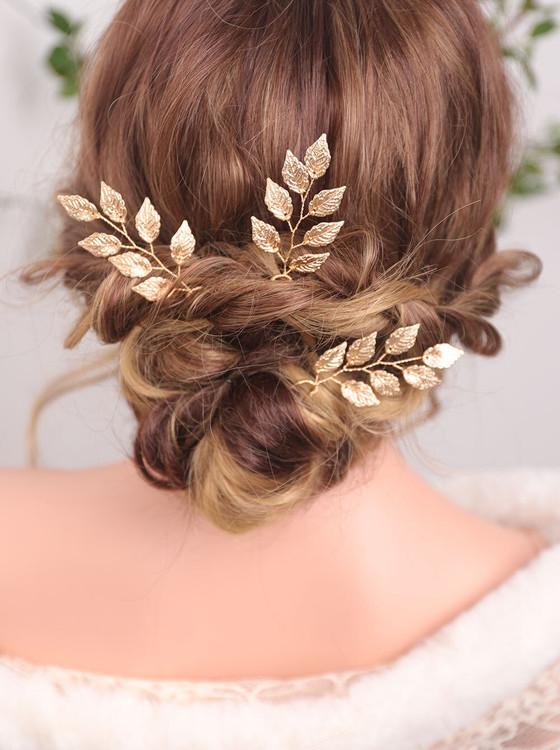 Elegant Golden Bridal Hair Pins (MITIARA35)