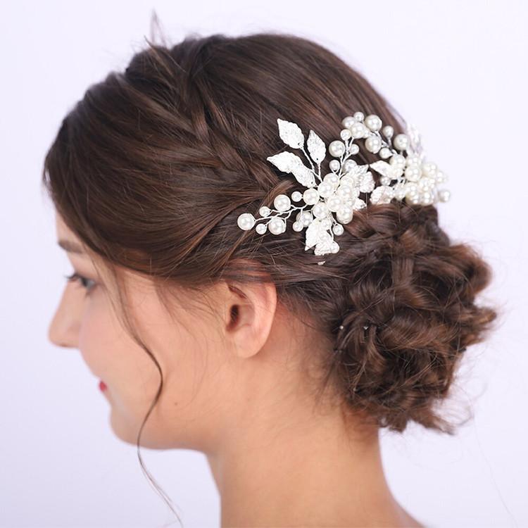Silver Pearl and Leaf Bridal Pins (MITIARA37)