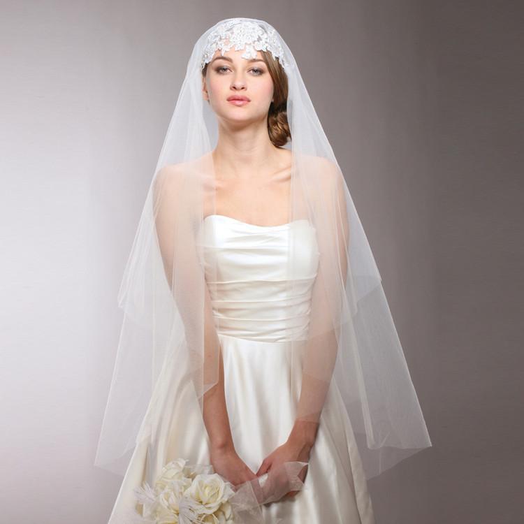 Renaissance Beaded Applique Juliet Wedding Veil