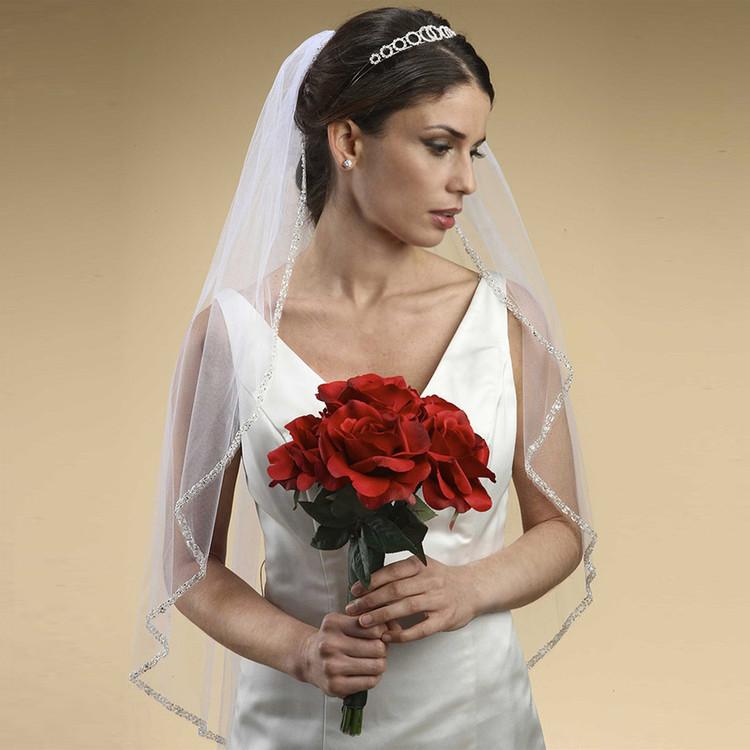 Rhinestone Edge Wedding Veil with Pearls & Beads