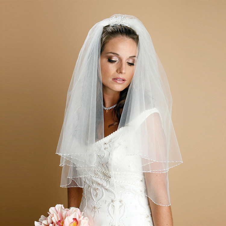 Two Tier Circular Cut Veil with Seed Bead and Bugle Bead Edging