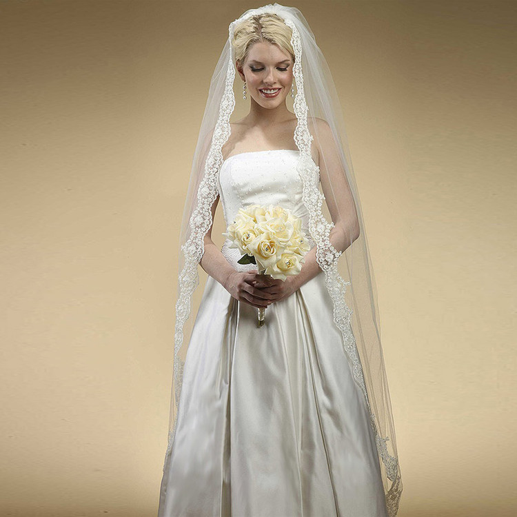 Floor Length Bridal Mantilla Veil with Lace