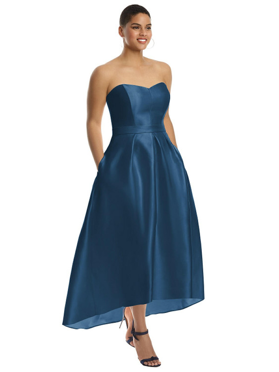 Strapless Satin High Low Dress with Pockets By Alfred Sung D699 in 23 colors