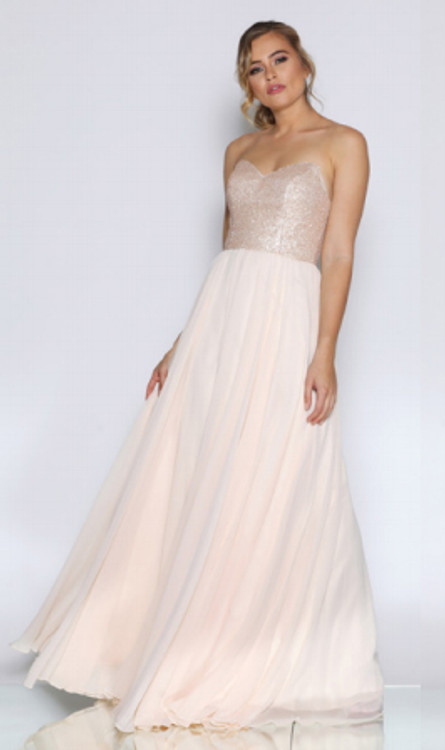Blair Dress By Les Demoiselle (LD1038) Strapless Sweetheart Sequin Bustier Full Length A Line Chiffon Evening Gown