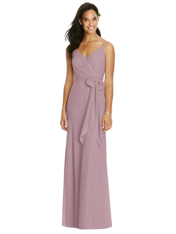 V-Back Draped Wrap Trumpet Gown with Sash by Social Bridesmaid 8181 in 34 colors in desert rose