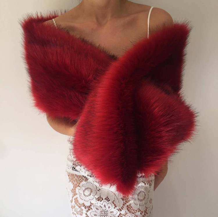 True Romance Fur Shawl Wine