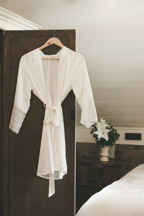 Bridal Satin Lace Robe WHITE