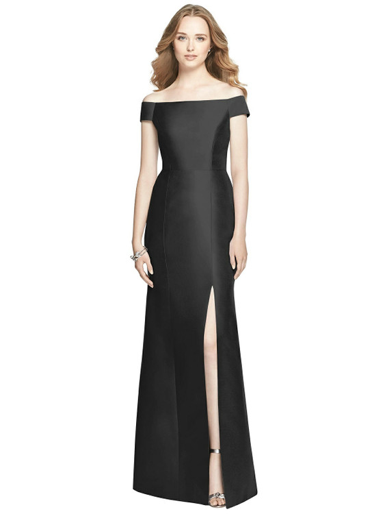 Off-the-Shoulder Criss Cross Back Satin Dress by Alfred Sung Dress D751 in 33 colors