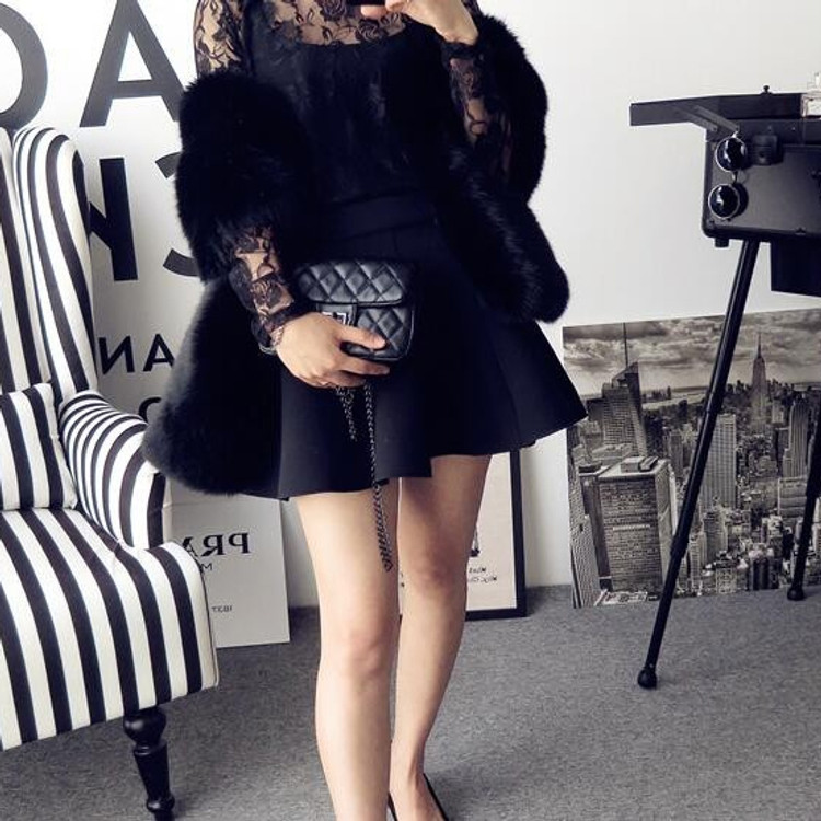 True Romance Fur Shawl Black