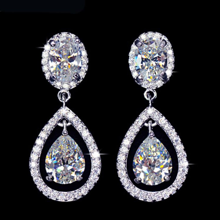 Halo Tear Drop Cubic Zirconia earrings