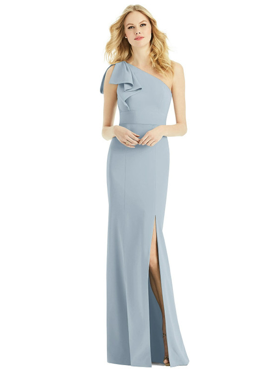Bowed One-Shoulder Trumpet Gown by After Six 6769 in 33 colors in Mist