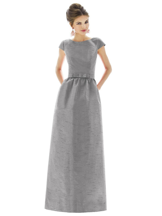 Cap Sleeve V-Back Maxi Dress with Pockets by Alfred Sung D569 in 3 colors in Quarry