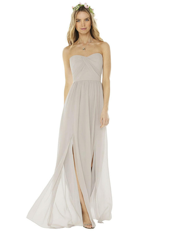 Strapless Draped Bodice Maxi Dress with Front Slits by Social Bridesmaid 8159 in 37 colors