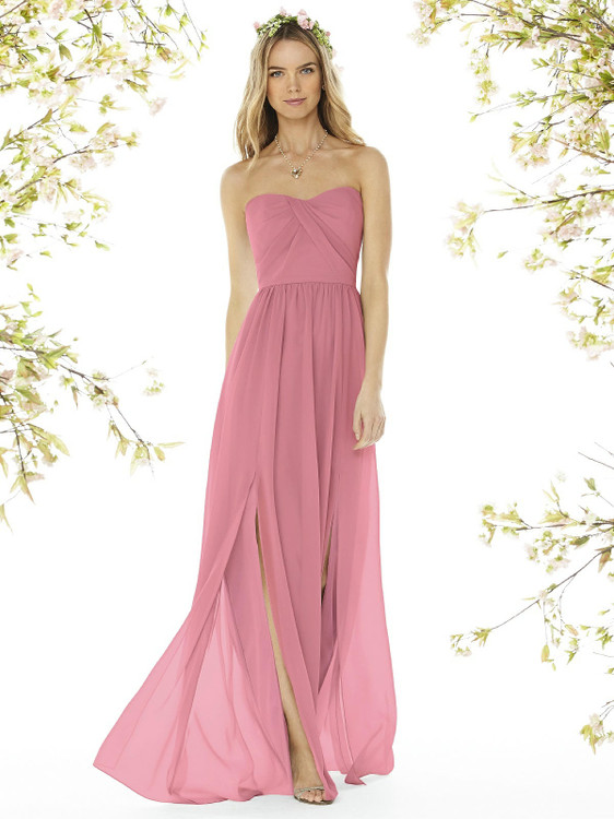Strapless Draped Bodice Maxi Dress with Front Slits by Social Bridesmaid 8159 in 37 colors carnation