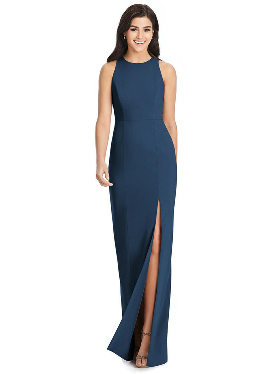 Diamond Cutout Back Trumpet Gown with Front Slit by Dessy Bridesmaids 3029 in 34 colors