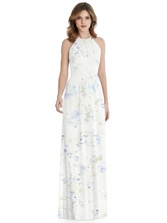 Cutout Tie Back Halter Maxi Dress By After Six Bridesmaid 1515 in 63 colors