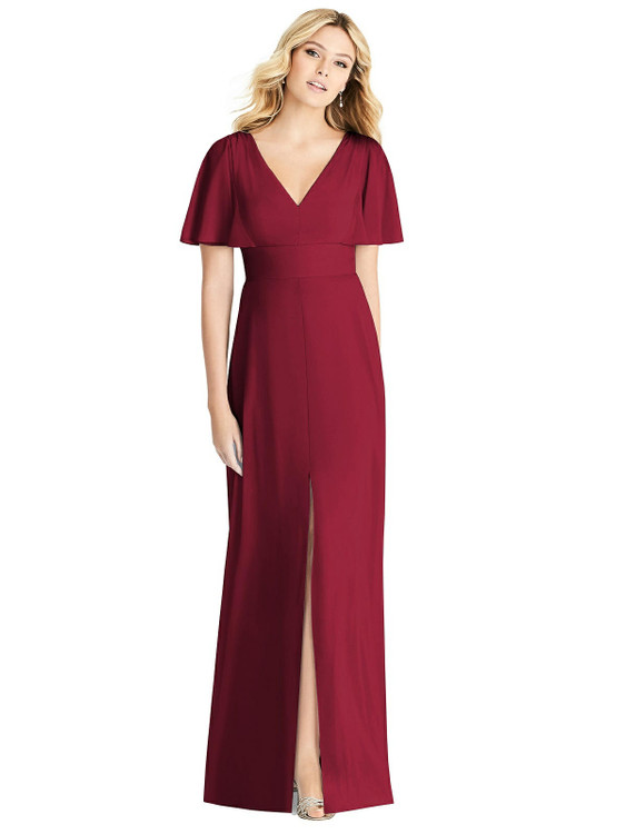 Split Ruffle Sleeve V-neck Dress with Front Slit By Social Bridesmaid 8188 in 34 colors