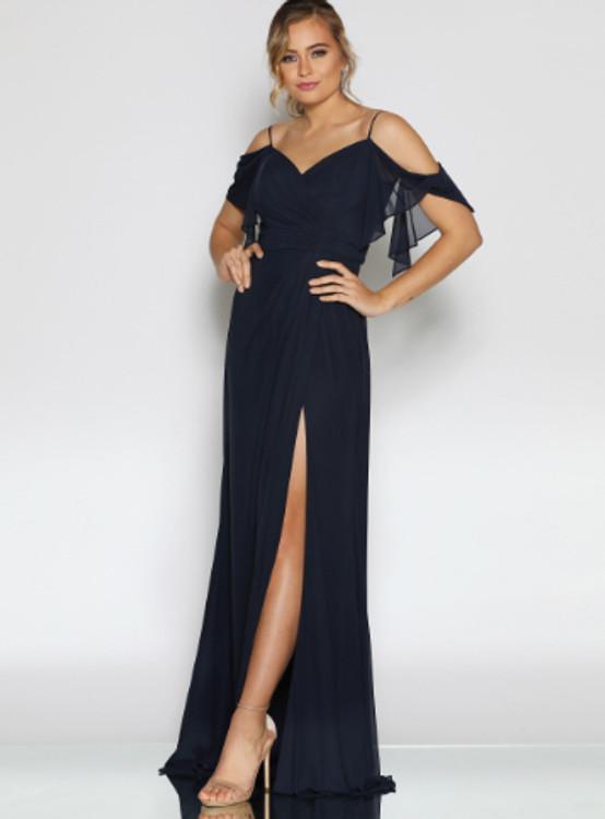 Savannah Dress By Les Demoiselle LD1100 V Neck Cold Shoulder Flutter Sleeve Full Length Chiffon Gown