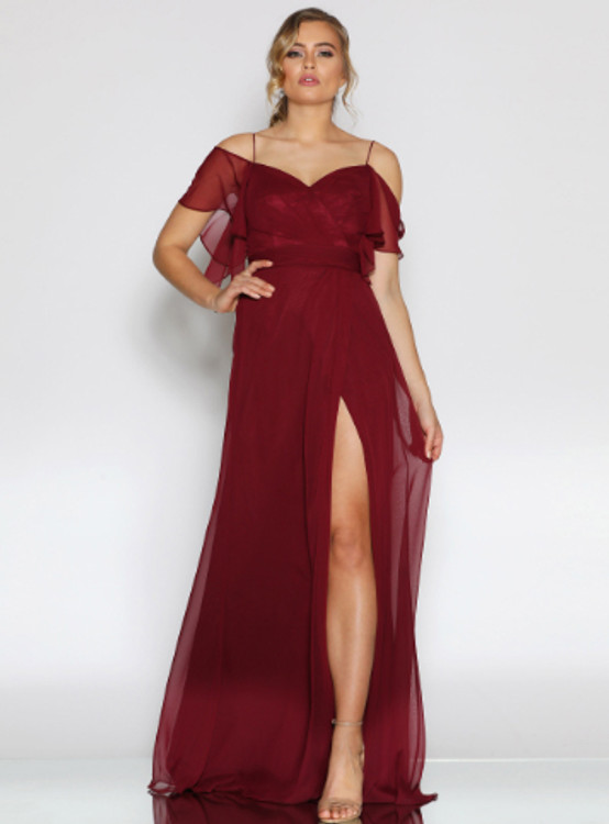 Salome Dress By Les Demoiselle LD1098 Cold Shoulder Flutter Sleeve Full Length Chiffon Gown