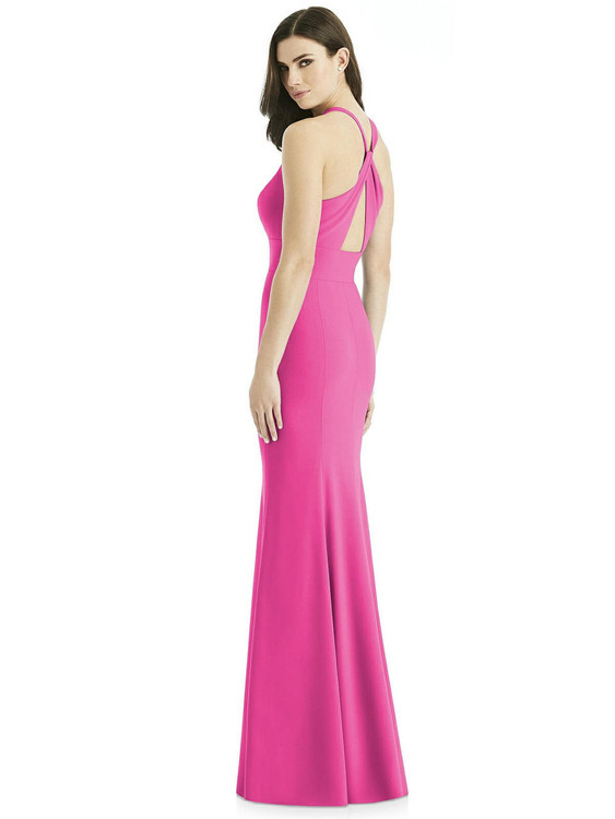 Criss Cross Twist Cutout Back Trumpet Gown by Studio Design 4527 in 31 colors