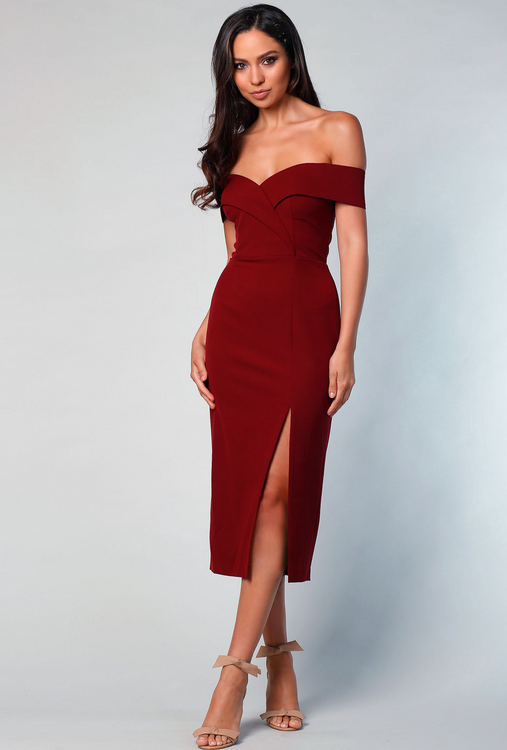 Gia Off the Shoulder Midi Gown By Samantha Rose