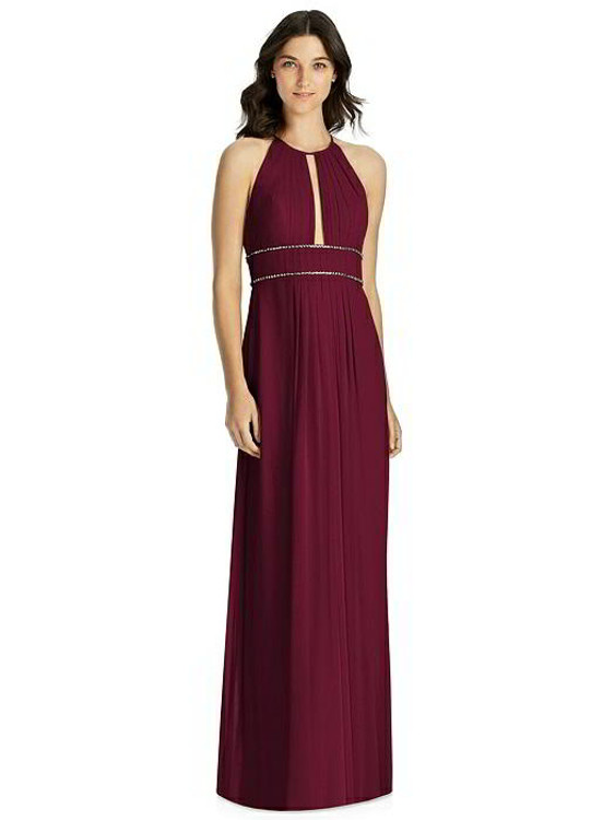 Keyhole Jewel-Trimmed Waist Halter Dress by Jenny Packham Bridesmaid JP1023 in 64 colors