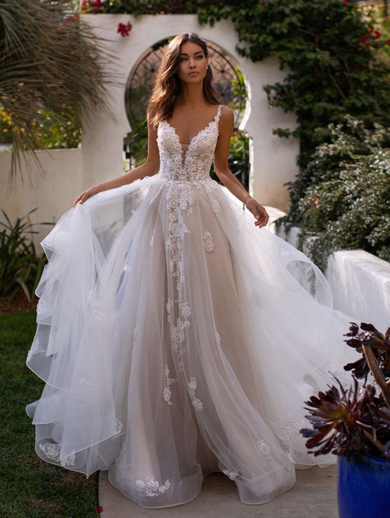 Deep Sweetheart Tulle Wedding Gown with Lace Bodice H1394 by Moonlight Bridal