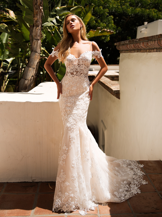 Hazel Mermaid Lace Wedding Gown with Off-the-Shoulder Sleeves J6710 by Moonlight Bridal