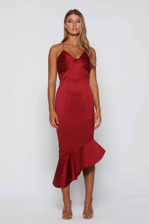 Harriette Wine Dress By Elle Zeitoune in size 10